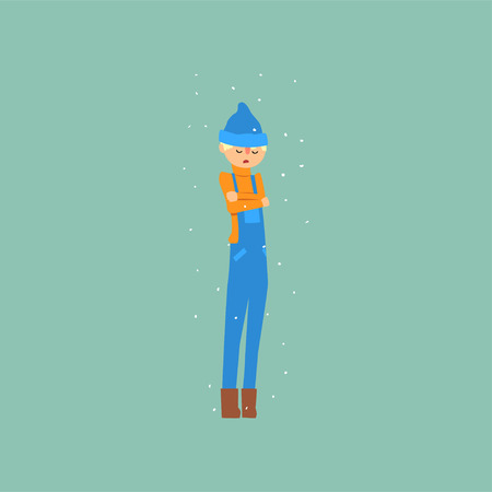 Boy in blue overalls and a hat freezing and shivering on winter cold vector illustration.