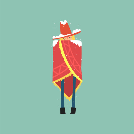 Yong man in red poncho and hat freezing and shivering on winter cold vector illustration. Иллюстрация