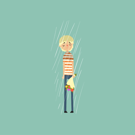 Sad young man freezing over autumn rain with bouquet of flowers vector Illustration.