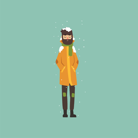 Bearded man in warm clothes freezing and shivering on winter cold vector Illustration