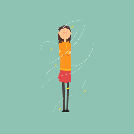 Girl freezing and shivering on a very windy day outdoors vector Illustration, flat style Illustration