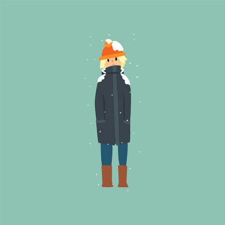 Boy in warm clothes freezing and shivering on winter cold vector Illustration, flat style