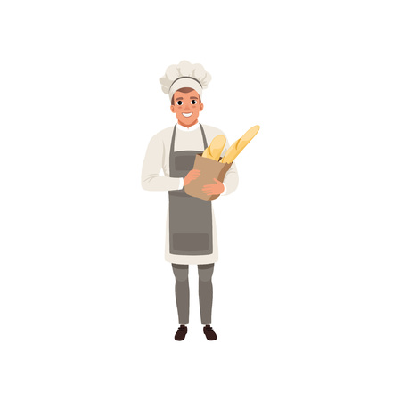 Happy young baker character holding traditional french baguettes in paper bag vector Illustration isolated on a white background.