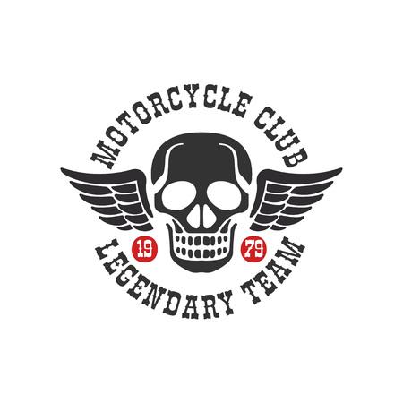 오토바이 클럽 로고, 전설적인 팀 1979, 모터 또는 자전거 타는 사람 클럽, 오토바이 수리점, 흰색 배경에 고립 된 의류 벡터 일러스트 레이 션에 대 한