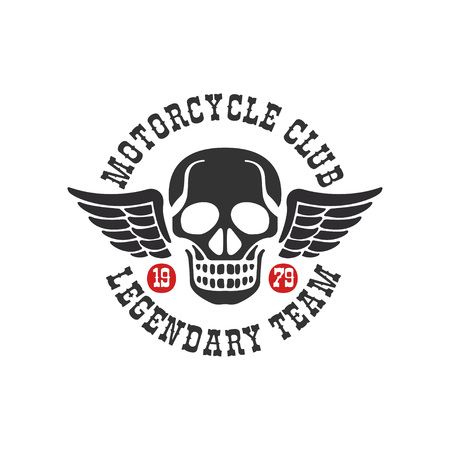 Motorcycle club logo, legendary team 1979, design element for motor or biker club, motorcycle repair shop, print for clothing vector Illustration isolated on a white background. Çizim