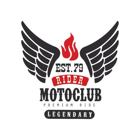 Rider motoclub logo, premium ride est 1979, design element for motor or biker club.
