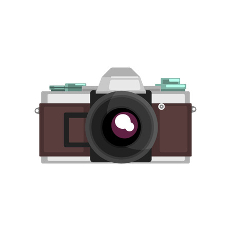Vintage photo slr brown camera vector Illustration on a white background Stockfoto - 96395790