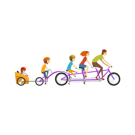 Parents riding on tandem bicycle with their three children, happy family, recreation with kids vector Illustration on a white background