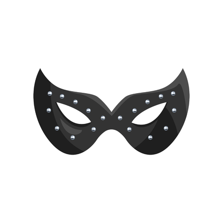 Black leather mask, fetish stuff for role playing and bdsm vector Illustration. Иллюстрация