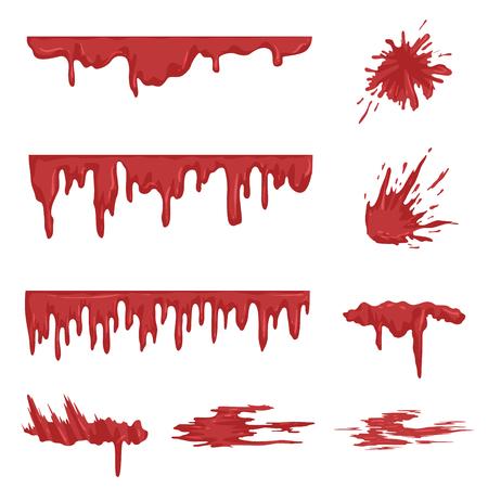 Set di schizzi di sangue, gocce di sangue e macchie illustrazioni vettoriali su uno sfondo bianco Vettoriali