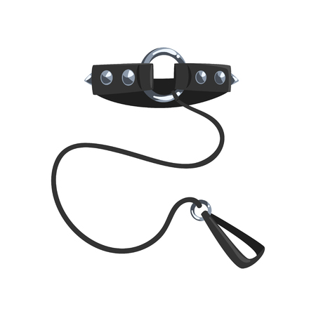 Leather collar with steel spikes and leash, stuff for role playing and vector Illustration on a white background