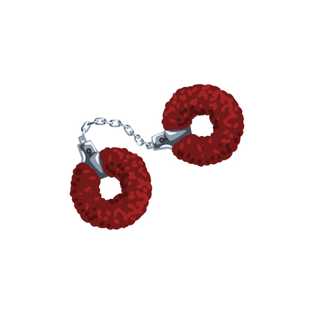 Furry red handcuffs, fetish stuff for role playing and bdsm vector Illustration on a white background