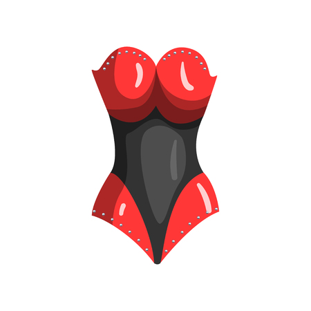 Black and red leather corset, fetish stuff for role playing and bdsm vector Illustration on a white background