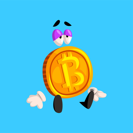 Sad bitcoin character, funny crypto currency emoticon vector Illustration on a sky blue background. Illustration