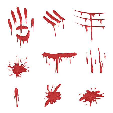 Blood spatters set, red palm prints, finger smears and stains vector Illustrations on a white background. Stock Illustratie