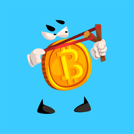 Funny bitcoin character with slingshot, crypto currency emoticon vector Illustration on a sky blue background Illustration
