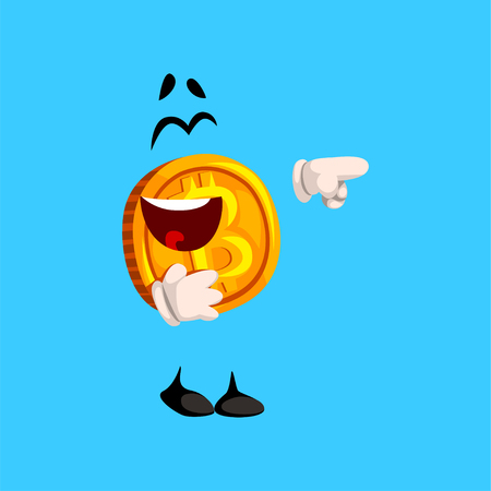Happy laughing bitcoin character pointing at something, crypto currency emoticon vector Illustration on a sky blue background Illustration