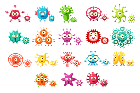 Colorful bacteria cartoon characters set, cute microbes with funny faces vector Illustrations on a white background Vettoriali