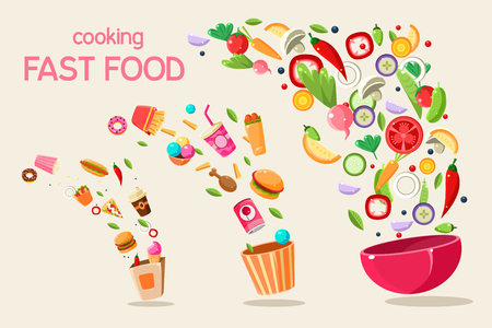 Fresh meal flying into a bowl and box, cooking fasr food vector Illustration on a white background