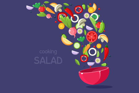 Fresh vegetables flying into a bowl, cooking salad, fresh meal ready for cooking vector Illustration on a blue background