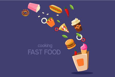 Repas frais voler dans une boîte illustration vectorielle sur un fond bleu Banque d'images - 96552487