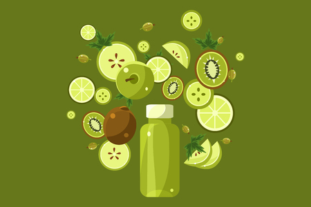 Green smoothie drink in bottle, ingredients flying over the bottle vector Illustration on a green background