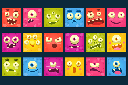 Funny colorful square face of monsters with different emotions vector Illustrations, smiles characters for site, video, animation, websites, infographics, messages, comics, newsletters