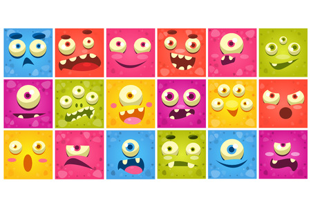 Colorful square funny face of monsters with different emotions