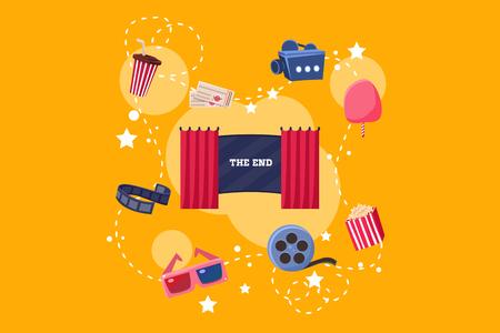 Elements of film industry set, scene, camera, ticket, ice cream, 3d glasses, popcorn vector Illustration on yelllow background Illustration