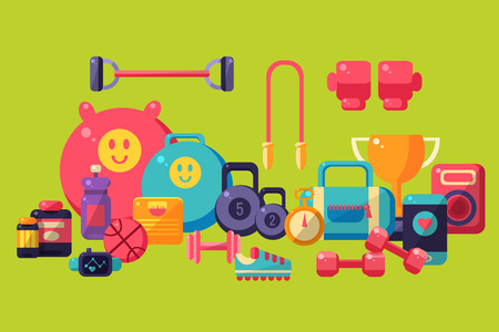 Fitness equipment set vector Illustration on a green background
