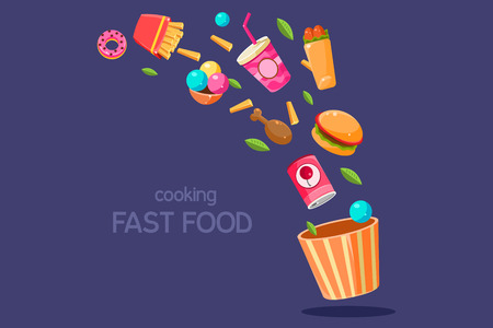 Fresh food flying into a box, cooking fasr food vector Illustration on a blue background Banque d'images - 96467315