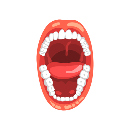 Open mouth vector Illustration isolated on a white background.