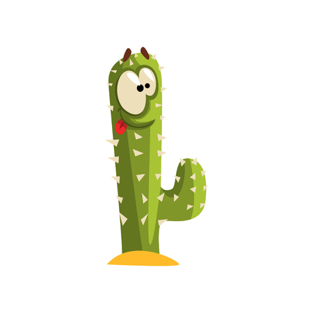 Creen cactus character with big eye, succulent plant with funny face vector Illustration isolated on a white background. Illustration
