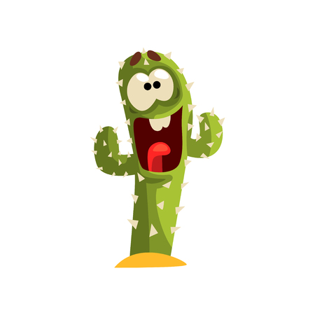 Happy cactus character laughing, succulent plant with funny face vector Illustration isolated on a white background.