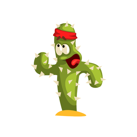 Warlike cactus character with funny face vector Illustration isolated on a white background.
