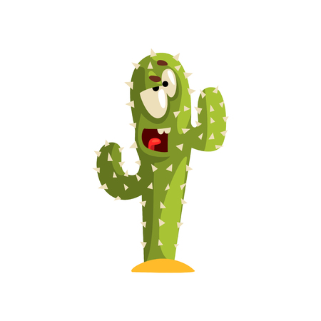 Angry cactus character with funny face vector Illustration isolated on a white background.