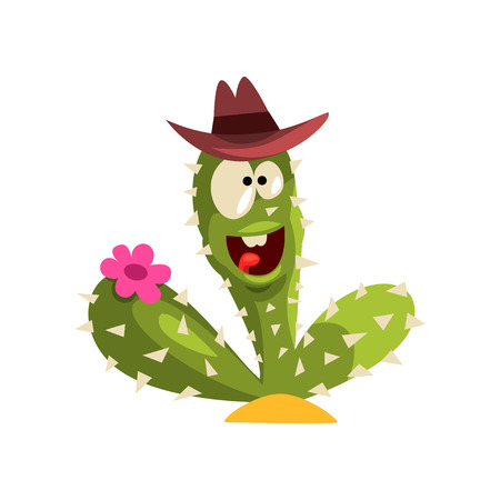 Green cactus character with hat and flower, succulent plant with funny face vector Illustration isolated on a white background.