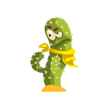 Cactus character in yellow neck scarf with funny face vector Illustration isolated on a white background. Иллюстрация