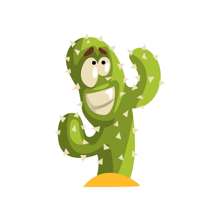Smiling cactus character with funny face vector Illustration isolated on a white background.