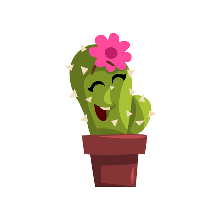 Happy cactus character in a clay pot with flower illustration. Illustration