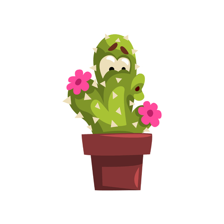 Cute cactus character with flowers with funny face in flowerpot