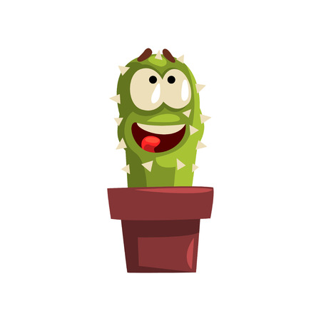 Smiling cactus character  in a clay pot with flower illustration.