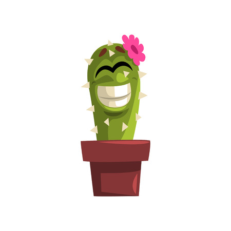 Happy smiling cactus character with pink flower, succulent plant with funny face in flowerpot vector Illustration isolated on a white background. Illustration