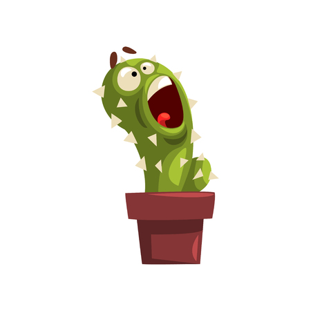 Angry cactus character in a clay pot with flower illustration.