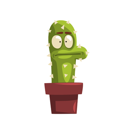 Puzzled cactus character  in a clay pot with flower illustration.