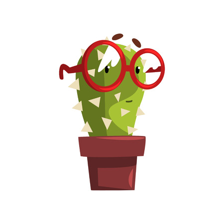 Smart cactus character in a clay pot with glasses illustration.
