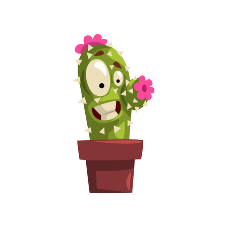 Laughing cactus character with pink flowers in a clay pot