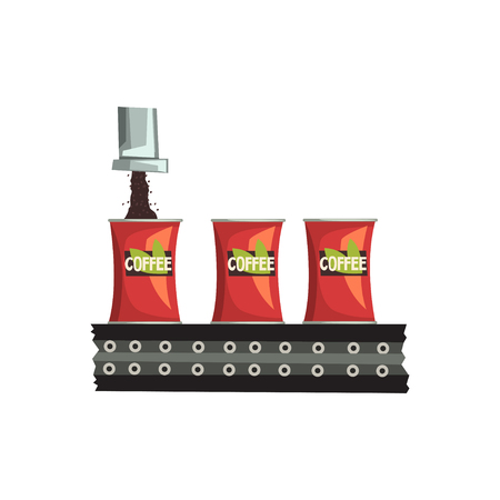 Packaging of coffee, automated belt conveyor vector illustration isolated on a white background.