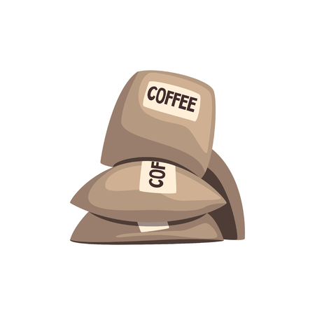 Burlap sacks full of coffee vector illustration isolated on a white background.