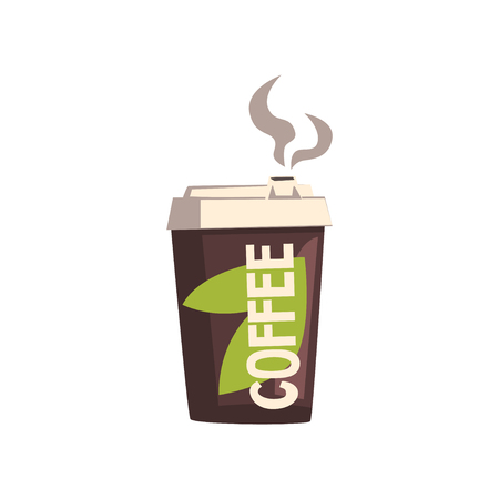 Take away coffee cardboard cup with lid vector illustration isolated on a white background.